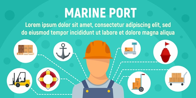 Modèle de bannière de concept travailleur portuaire maritime, style plat