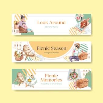 Modèle de bannière avec concept de voyage pique-nique pour la publicité et le marketing illustration aquarelle