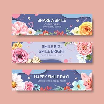 Modèle de bannière avec la conception de bouquet de fleurs pour le concept de la journée mondiale du sourire pour la publicité et la commercialisation d'illustraion de vecteur aquarelle.
