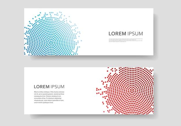 Modèle de bannière avec conception de cercle couleur abstrait vector. texture de demi-teintes
