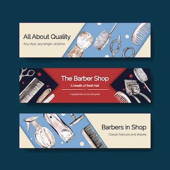 Modèle de bannière avec la conception de concept de coiffeur pour la publicité.