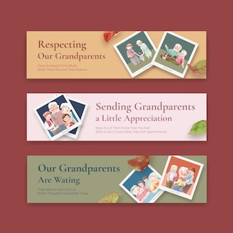 Modèle de bannière avec la conception de concept de jour national des grands-parents pour l'aquarelle de brochure et de dépliant.