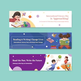 Modèle de bannière avec la conception de concept de la journée internationale de l'alphabétisation pour le marketing et le vecteur aquarelle de dépliant.