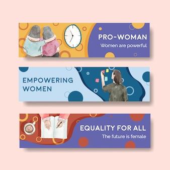 Modèle de bannière avec conception de concept de journée mondiale de l'eau pour la publicité et le marketing illustration aquarelle