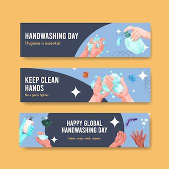 Modèle de bannière avec conception de concept de journée mondiale de lavage des mains pour la publicité et le marketing aquarelle