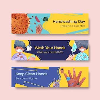 Modèle de bannière avec conception de concept de journée mondiale de lavage des mains