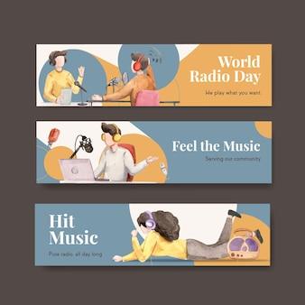 Modèle de bannière avec la conception de concept de journée mondiale de la radio pour la publicité et le marketing illustration aquarelle