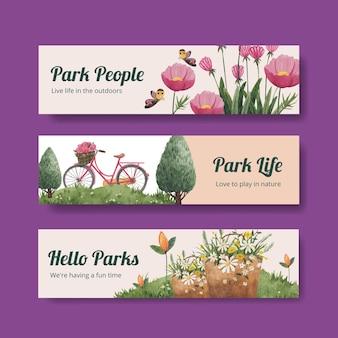 Modèle De Bannière Avec La Conception De Concept De Parc Et De Famille Pour Annoncer L'illustration Aquarelle Vecteur gratuit