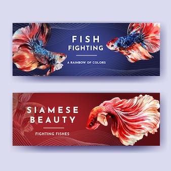 Modèle de bannière avec la conception de concept de poisson de combat siames pour la publicité et le marketing illustration vectorielle aquarelle