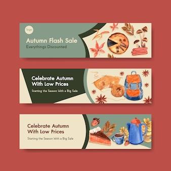 Modèle de bannière avec conception de concept quotidien automne pour aquarelle marketing et promotion