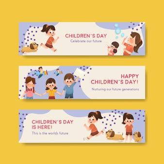 Modèle de bannière avec la conception de la journée des enfants
