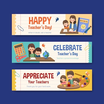 Modèle de bannière avec la conception de la journée des enseignants