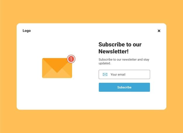 Modèle de bannière contextuelle d'abonnement à la newsletter