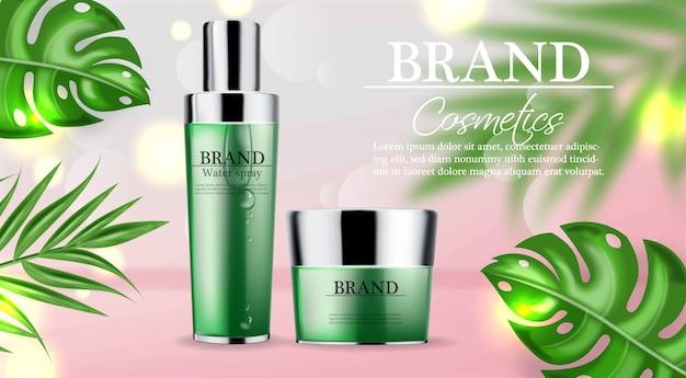 Modèle de bannière cosmétique crème et spray vert
