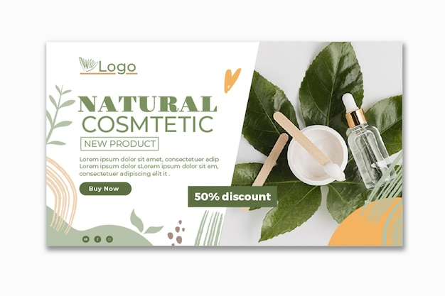 Modèle de bannière cosmétique avec photo