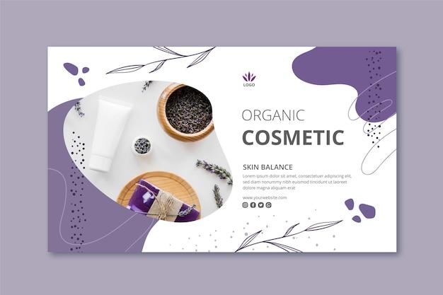 Modèle de bannière de cosmétiques avec photo