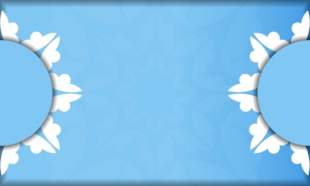 Modèle de bannière de couleur bleue avec motif blanc indien et placez-le sous votre texte