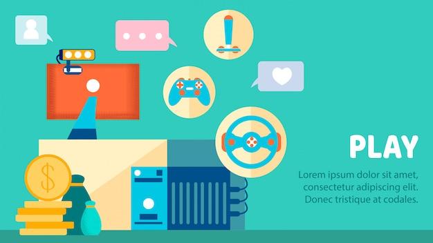 Modèle de bannière de couleur plate pour l'industrie des jeux d'ordinateur