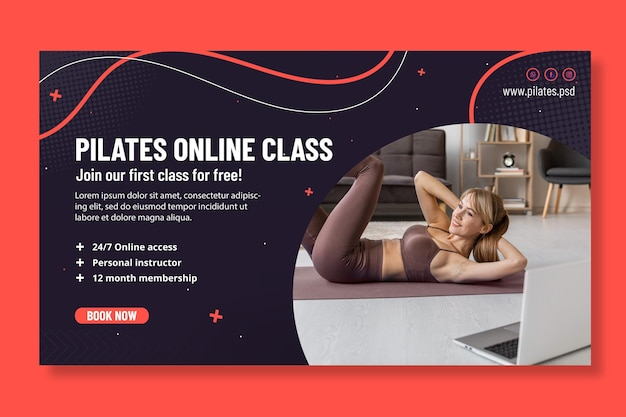 Modèle de bannière de cours en ligne de pilates