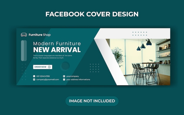 Modèle de bannière de couverture de la chronologie facebook de vente de meubles
