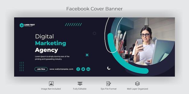 Modèle de bannière de couverture facebook d'agence de marketing numérique sur les médias sociaux