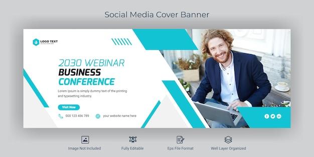 Modèle de bannière de couverture facebook de médias sociaux de conférence d'affaires de webinaire