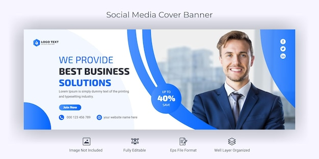 Modèle de bannière de couverture facebook de médias sociaux de marketing d'entreprise
