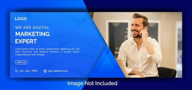 Modèle de bannière de couverture facebook de médias sociaux de marketing numérique vecteur premium