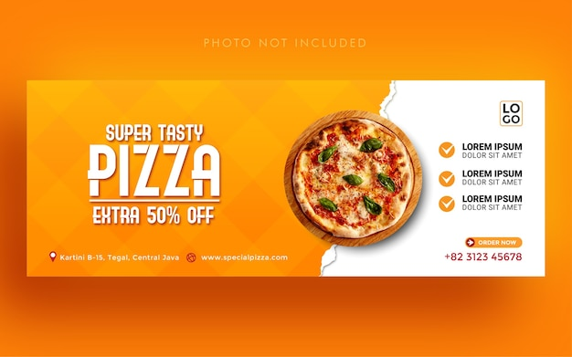 Modèle de bannière de couverture facebook de médias sociaux de promotion de pizza super savoureuse