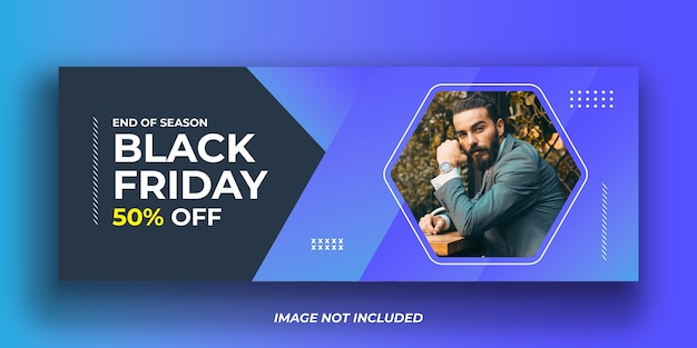 Modèle de bannière de couverture facebook mode vendredi noir