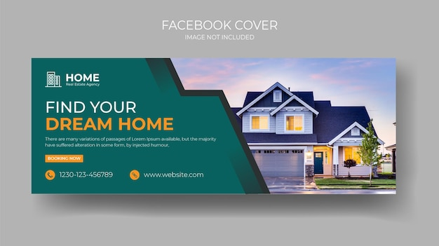 Modèle de bannière de couverture facebook de vente à domicile parfait et moderne pour une société immobilière