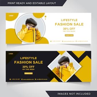 Modèle de bannière de couverture facebook de vente de mode.