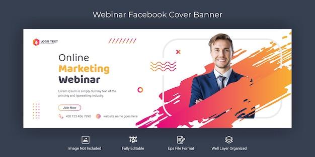 Modèle de bannière de couverture facebook de webinaire marketing en ligne sur les médias sociaux
