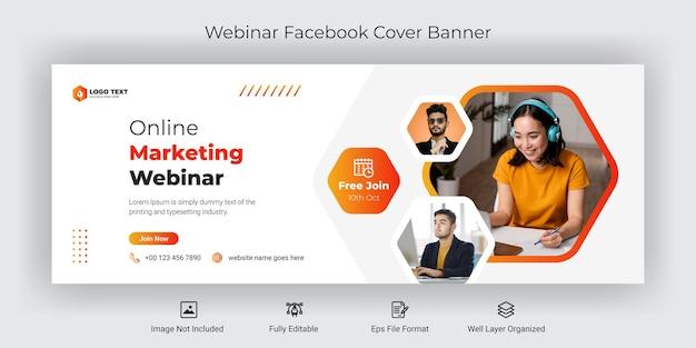 Modèle de bannière de couverture facebook de webinaire marketing en ligne