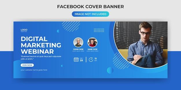 Modèle de bannière de couverture facebook webinaire de marketing numérique