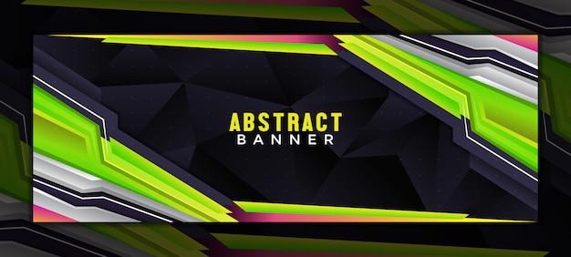 Modèle de bannière de couverture de médias sociaux de jeu moderne abstrait avec style techno
