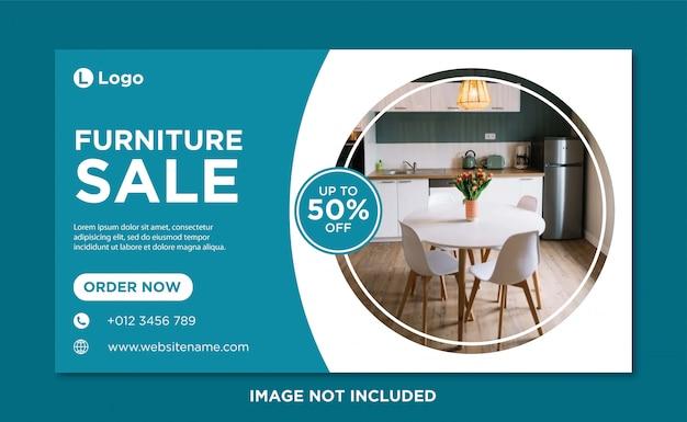 Modèle de bannière de couverture de médias sociaux de vente de meubles