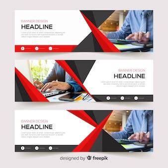 Modèle de bannière de création d'entreprise avec photo