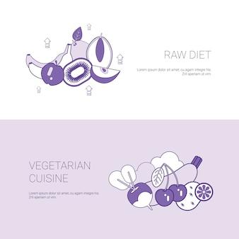 Modèle de bannière crue web et concept de cuisine végétarienne brute avec espace de copie