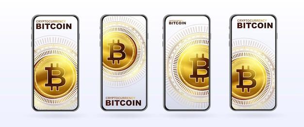 Modèle de bannière de crypto-monnaie d'argent électronique bitcoin pour une page web