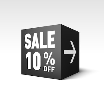 Modèle de bannière de cube noir pour l'événement de vente de vacances. remise de dix pour cent