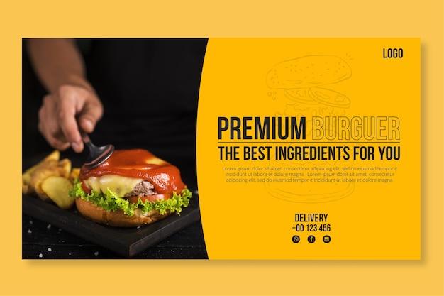 Modèle de bannière de cuisine américaine avec photo de hamburger