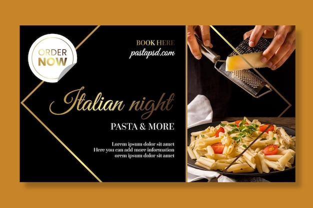 Modèle de bannière de cuisine italienne de luxe