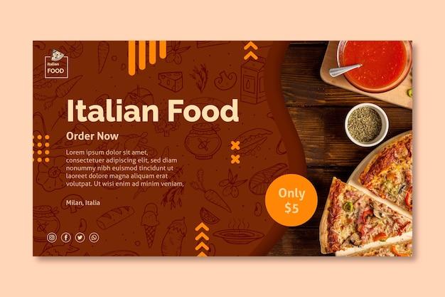 Modèle De Bannière De Cuisine Italienne Vecteur Premium