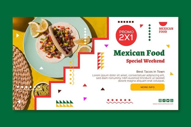 Modèle de bannière de cuisine mexicaine horizontale