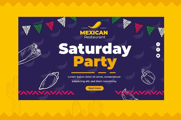 Modèle de bannière de cuisine mexicaine