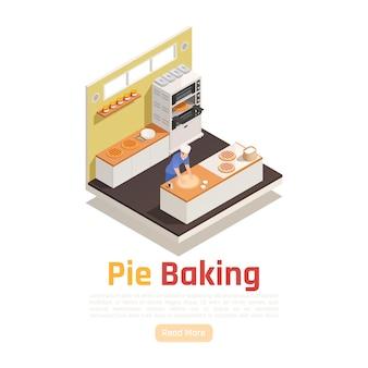 Modèle de bannière de cuisson de tarte isométrique