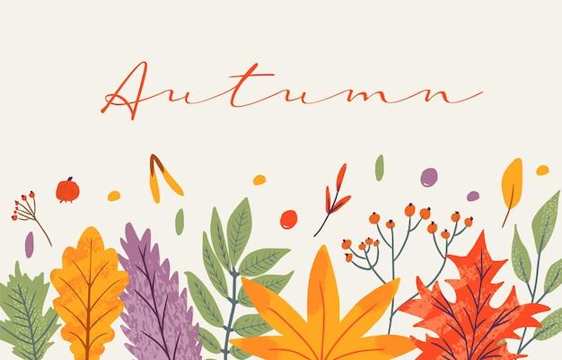 Modèle de bannière décoré d'éléments et de texte tendance d'automne. feuilles tombantes baies et champignons. ensemble de scrapbooking d'éléments de saison d'automne. illustration vectorielle naturelle plate pour la publicité, la promotion