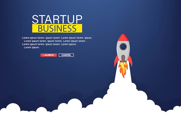 Modèle de bannière de démarrage d'entreprise avec fusée. fusée dans l'espace