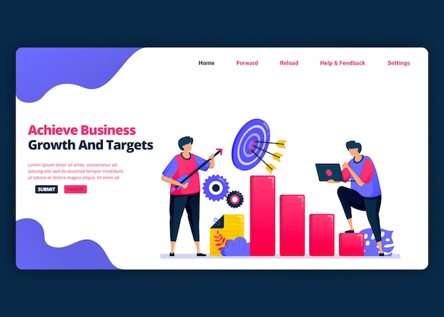 Modèle de bannière de dessin animé pour atteindre les objectifs de croissance des bénéfices et de création d'emplois. modèles de conception créative de page de destination et de site web pour les entreprises.